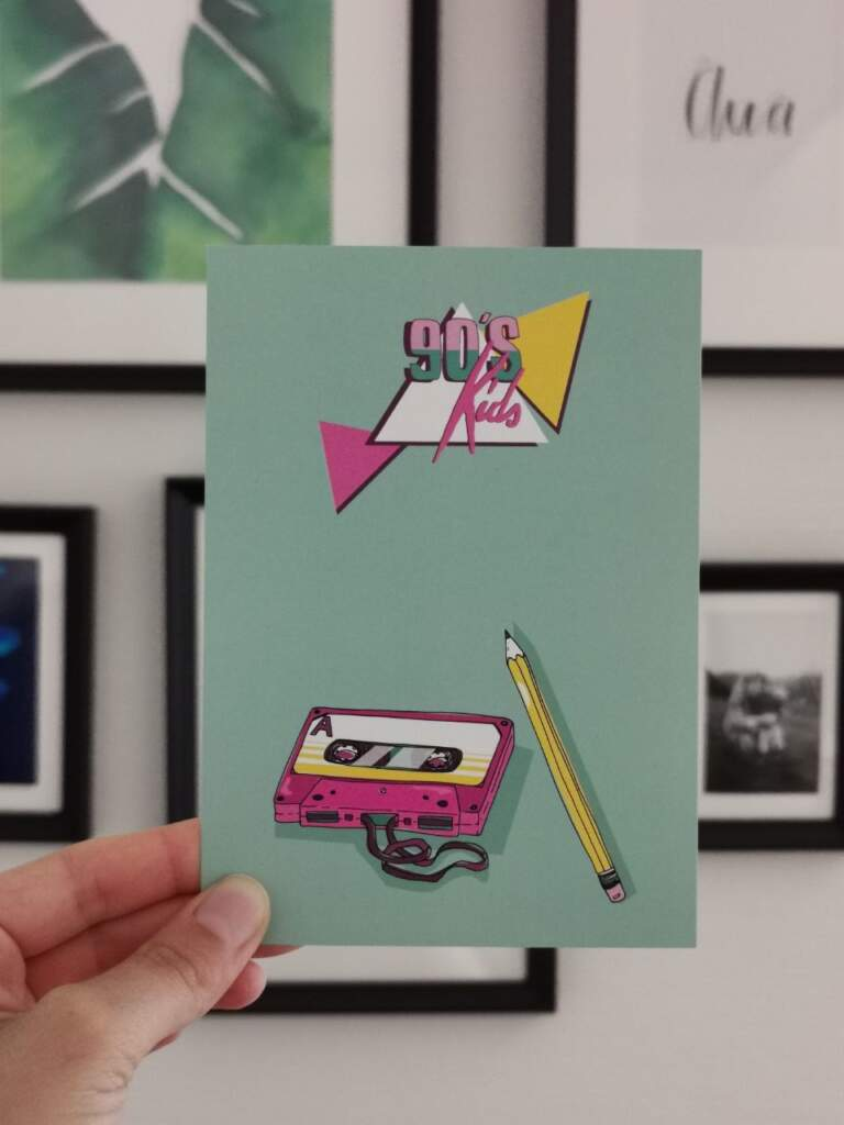 Postkarte 90er-Jahre Retro Musik-Kassette