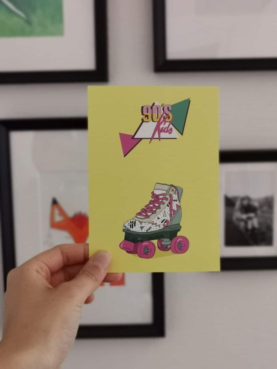 Postkarte 90er-Jahre Retro Rollschuh