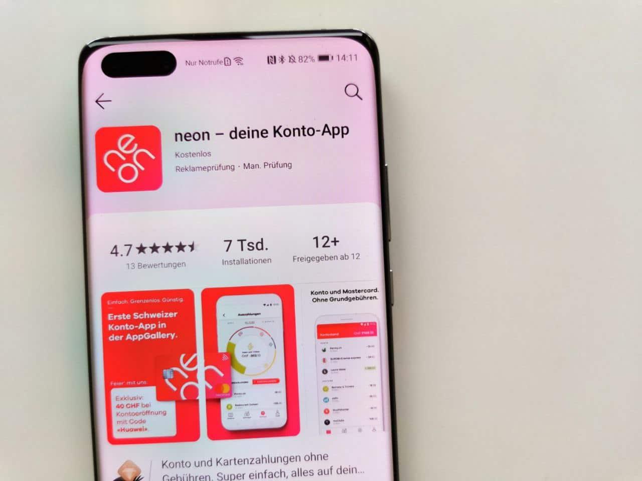 Neon als einzige Banking-App in der AppGallery